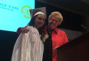 2016 Strawbridge School graduate Miranda Webb with former Board President Jan Hayden